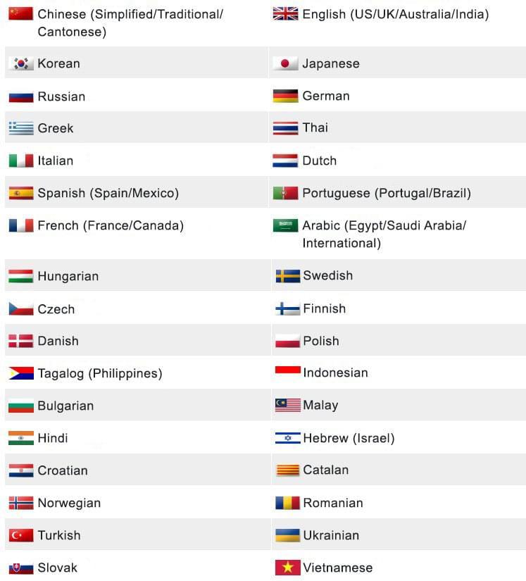 Translaty Pro Languages